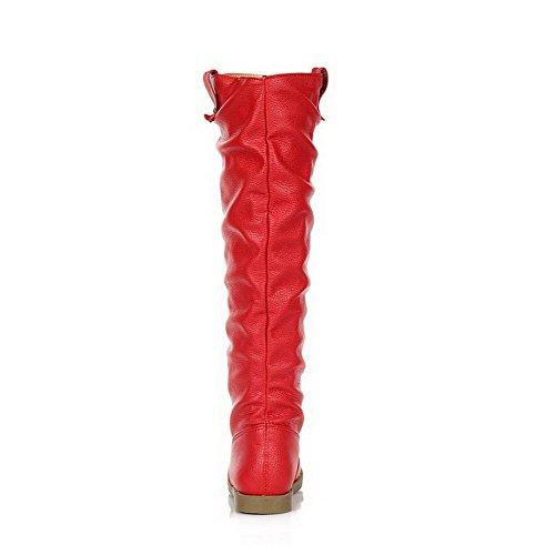 AllhqFashion Mujeres Puntera Redonda Caña Alta Mini Tacón Sólido Botas con Metal Rojo