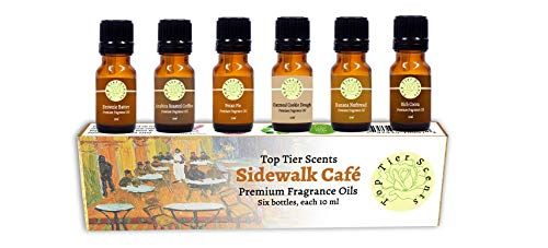 Sidewalk Cafe Gift Set of 6 Premium Fragrance Oils - Pecan Pie, Banana Nutbread, Oatmeal Cookie Dough, Brownie Batter, Rich Cocoa, Arabica Roasted Coffee - Top Tier Scents (Body Cookie Oatmeal)