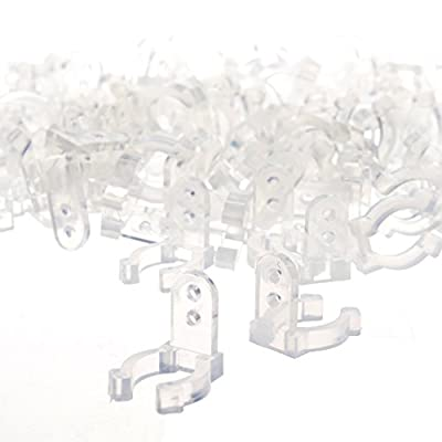 BCP 100pcs 1/2inches Clear Color PVC LED Rope Light Holder Wall Mounting Clip, Screw included