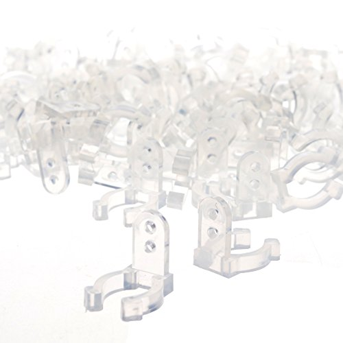 BCP 100pcs 1//2inches Clear Color PVC LED Rope Light Holder Wall Mounting Clip,