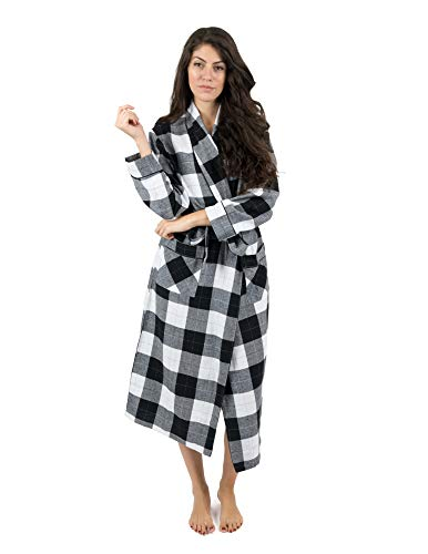 Leveret Womens Robe Flannel Robe Christmas Robe Black/White Plaid Size Small