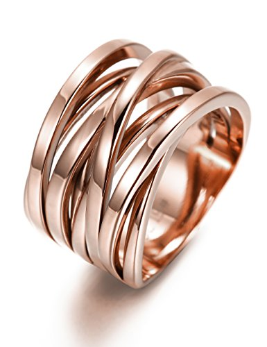 Band Rose Ring (13.7MM Stainless Steel Cross Ring Women Girls Statement Cocktail Ring Jewelry Rose Gold/Gold Plated)