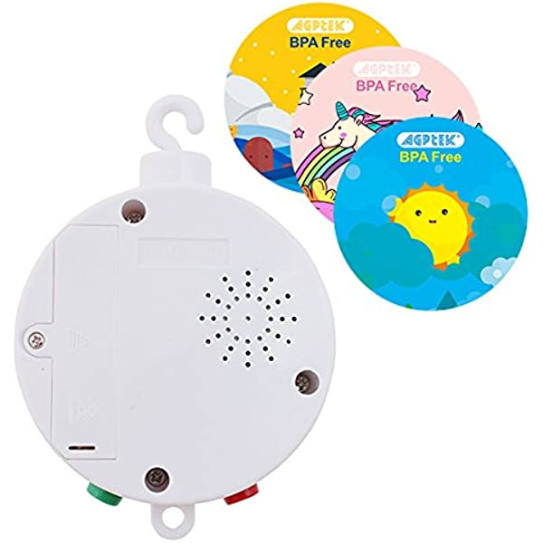 white EMVANV 12 Melodies Songs Rotary Mobile Crib Bed Bell Toy Windup Movement Music Box With Rotating Hook Kids Toy Gift For Baby