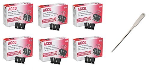 ACCO Binder Clips, Large, 12 Clips/Box, 6 Pack, 72 Clips Total (A7072102)