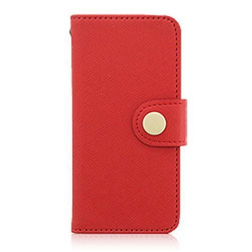 Button Wallet Case (Red) for Apple iPhone 5