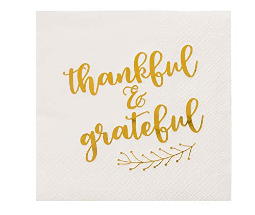 Cocktail Napkins - 50-Pack Disposable Paper Napkins, Autumn Thanksgiving Dinner Party Supplies, 3-Ply, Thankful and Grateful in Gold Foil, White, Unfolded 10 x 10 Inches, Folded 5 x 5 Inches