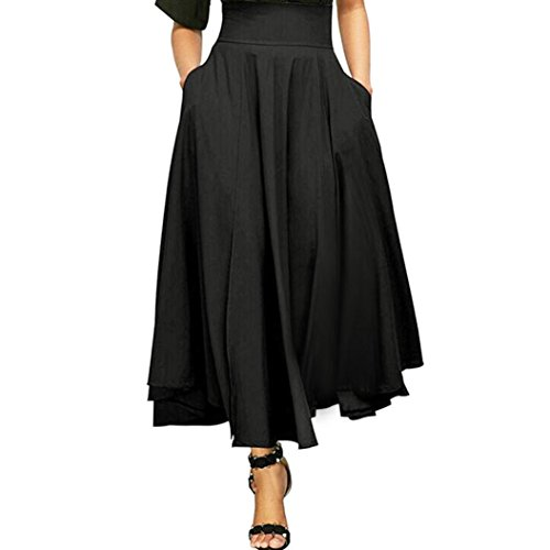 Fiaya Women High Waist Vintage Front Slit Belted Pleated A Line Long Skirt Maxi Skirt (X-Large, Black) (Attached Mini Skirt)