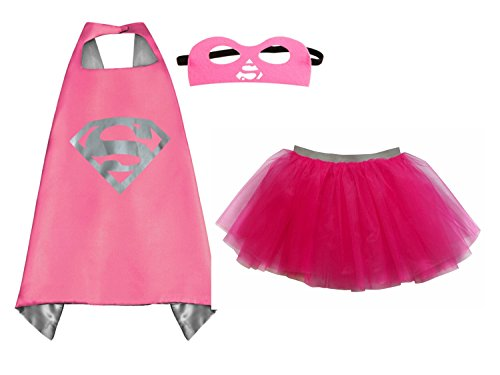 [Superhero or Princess TUTU, CAPE, MASK SET COSTUME - Kids Childrens Halloween (Supergirl - Hot Pink Silver] (Halloween Princess Costumes For Kids)