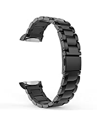Gear S2 Watch Band, MoKo Universal Stainless Steel Watch Band Strap Bracelet + Connector for Samsung Gear S2 SM-R720 & SM-R730 SmartWatch (Not Fit Gear S2 SM-R735), BLACK