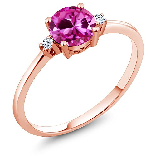 Gem Stone King 10K Rose Gold Engagement Solitaire Ring set with 1.03 Ct Round Pink Created Sapphire and White Created Sapphires (Size 7)