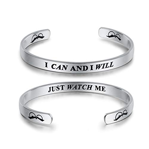 UNY Jewelry Inspirational Quote I Can and I Will Just Watch Me Encouraging Cuff Bangle