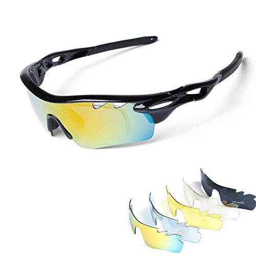 Polarized Sports Sunglasses for Men Women Cycling Running Driving Fishing Golf Baseball with Tr90 Unbreakable Frame,5 Interchangeable Lenses … (New - Men On Sunglasses