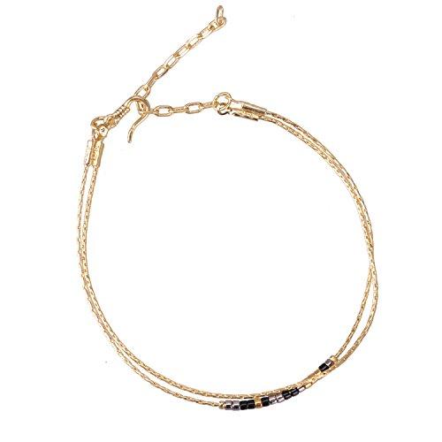 (KELITCH Double Strand Seed Bead Bracelet Gold-Plated Chain Bracelet for Wommen, 38)