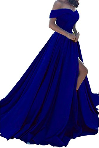 Plus Size Off Shoulder Long Split A Line Prom Evening Dress Royal Blue US  20W