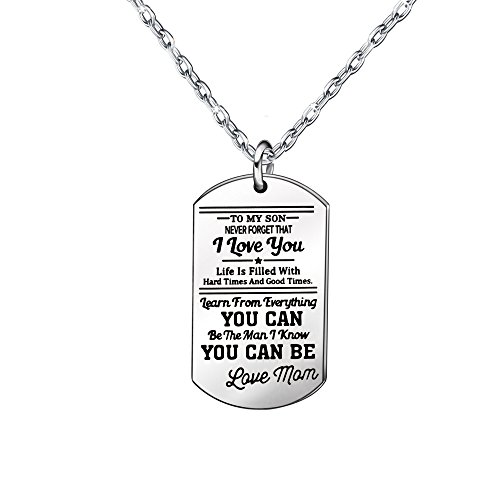 to My Son Silver Pendant Necklace Birthday Gift Present for Son from Mom Mother