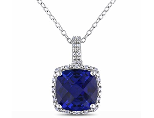 Created Blue Sapphire and Diamond Pendant Necklace 5.85 Carat (ctw) in Sterling Silver with ()