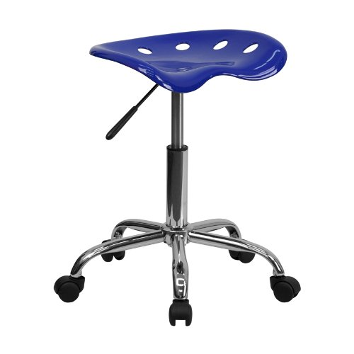 - Offex OF-LF-214A-NAUTICALBLUE-GG Vibrant Nautical Blue Tractor Seat and Chrome Stool