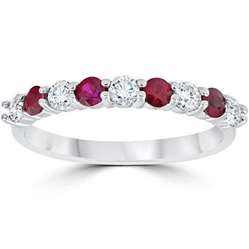 1/2CT Ruby & Diamond Wedding Ring 10K White Gold - Size ()