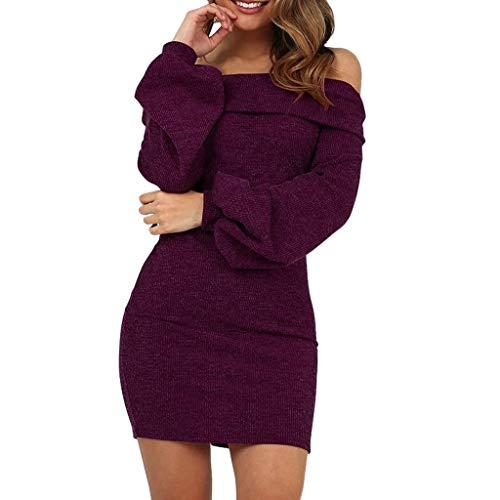 Mysky Fashion Women Sexy Off Shoulder Slim Sweater Mini Dress Ladies Casual Solid Lantern Sleeve A-Line Dress