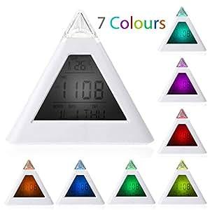New Sky Tech Mini 7 Color Display Light Pyramid Digital Alarm Clock