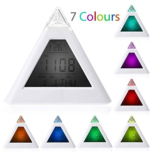Pyramid Table Clock - New Sky Tech Mini 7 Color Display Light Pyramid Digital Alarm Clock
