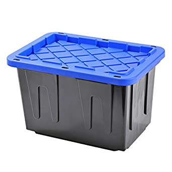 Plastic Heavy Duty Storage Tote Box, 23 Gallon, Black With Blue Lid,  Stackable
