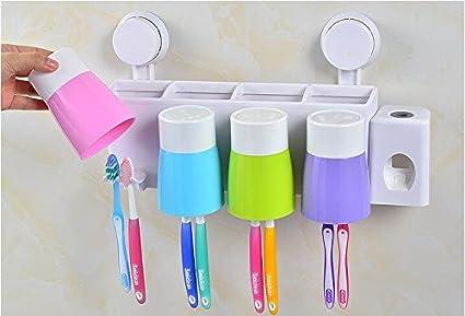 livdat multifunción automático familia Tubo de pasta de dientes exprimidor fácil dispensador Cascara con Soporte para