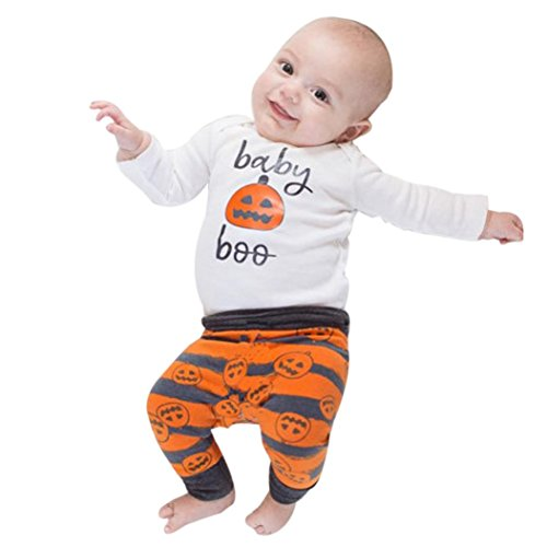 GBSELL 3pc Newborn Infant Baby Girl Boy Halloween Clothes Pumpkin Romper Top + Pants + Hat Set (White, 0-6 M) ()