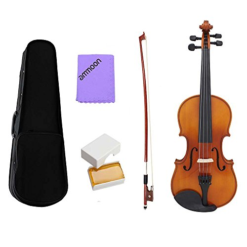 ammoon Full Size 1/4 Violin Fiddle Natural Acoustic Solid Wood Spruce Front Board Flame Maple Veneer for Beginner Student Performer with Case Rosin Cleaning Cloth by ammoon