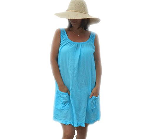 Coklico - Robe Tunique Poches Relief - Baby - 40 42 44 46 - Turquoise