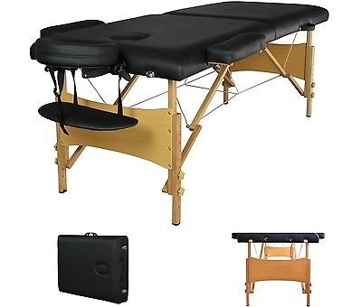2 Pad 84 Black Portable Massage Table w/Free Carry Case Chair Bed Spa Facial T by Everything Jingle Bell