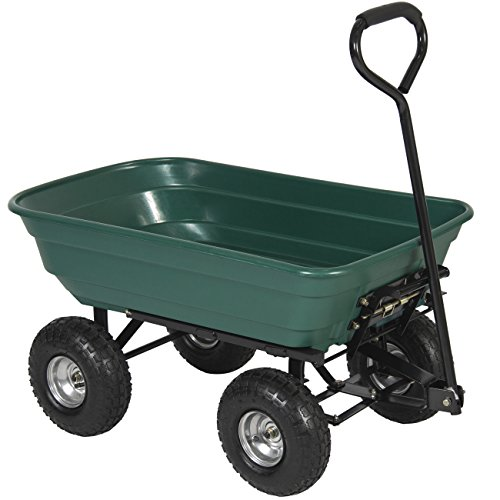 Best Choice Products 650LB Garden Dump Cart Wheelbarrel Wagon Carrier Air Tires Heavy Duty