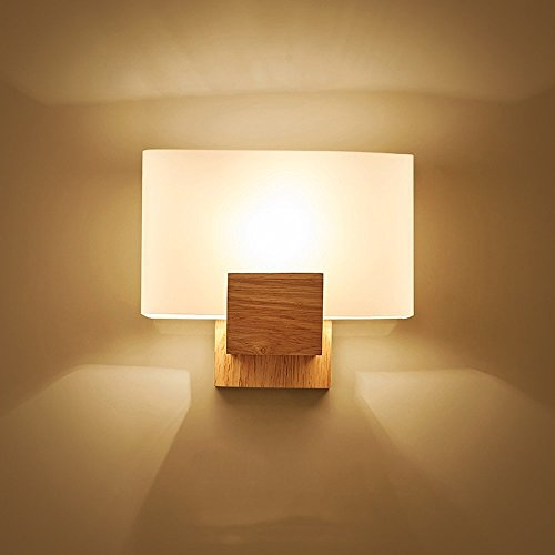 CGJDZMD Nordic Creative Simple LED Solid Wood Wall Lamp Sconce with Glass Lampshade Wall Light for Small Home Indoor Mounted Light for Bedside Bedroom Aisle Wall Lantern by CGJDZMD