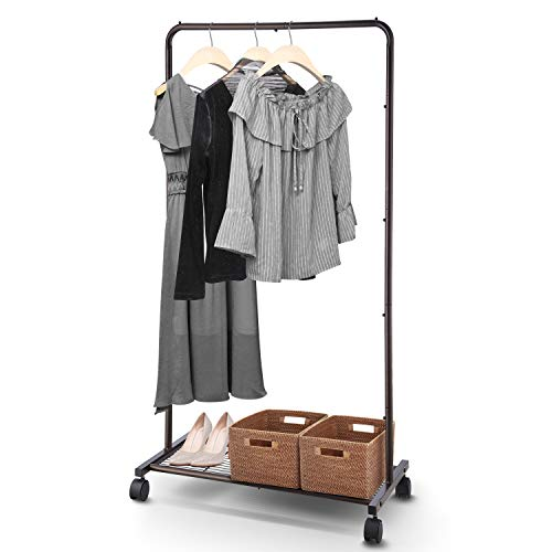 Simple Trending Standard Clothes Garment Rack, Clothing Rolling Rack with Mesh Storage Shelf on Wheels, Bronze