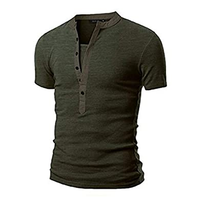 Teresamoon Men's Summer Casual Solid Patchwork V-Neck Short Sleeved T-Shirt Top Blouse