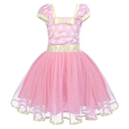 IBTOM CASTLE Toddlers Girls' Polka Dots Christmas Birthday Princess Outfits Party Cosplay Pageant Costume Tutu Dress up with 3D Ears Headband Pink 18-24 -