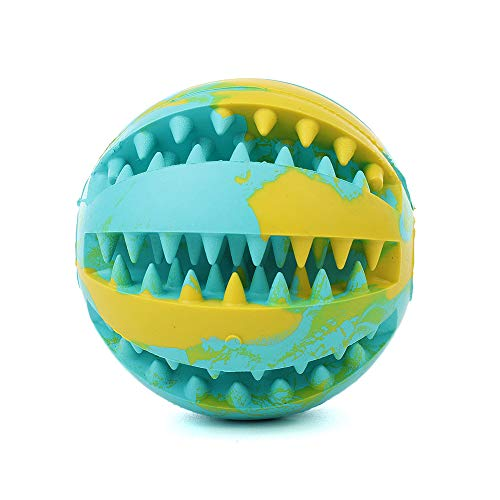 QINUKER Dog Ball Toys for Pet, Durable Strong Teeth Chewing/Playing, IQ Treat Ball Dog Chew Toy Soft Rubber Ball with Size 2.8