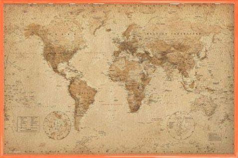 1art1 Mapas Históricos Póster con Marco (Plástico) - Mapa del Mundo, Ye Olde, En Inglés (91 x 61cm): Amazon.es: Hogar