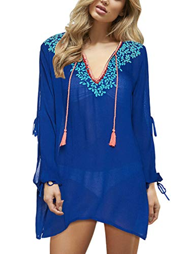 PINKMSTYLE Womens Woven V-Neck Embroidered Sheer Chiffon Tunic Dress Swimsuit Bathing Suit Beach Cover Up Royal Blue ()