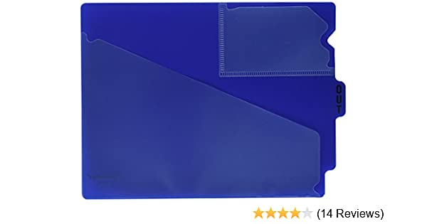 LETTER SIZE 9-1//2 x 12-7//8 OVERALL TWO POCKETS BLUE PACK OF 25 CENTER TAB VINYL OUTGUIDES