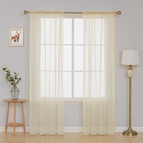 Deconovo Sheer Curtains Faux Linen Curtain Drapes for Kid's Bedroom Window coverings Drapes 52x84 Inch Beige Set of 2 ()