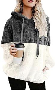 BETTE BOUTIK Womens Oversized Sherpa Pullover Hoodie with Pockets Warm Soft Fuzzy Fleece Sweatshirt Fluffy Coa