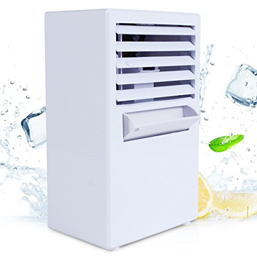 S'beauty Portable 9.5-inch Mini Desktop Air Conditioner Fan Personal Air Cooler Ice Cube Water Misting Cooling Fan Room Humidifier for Office, Dorm, and More (White)