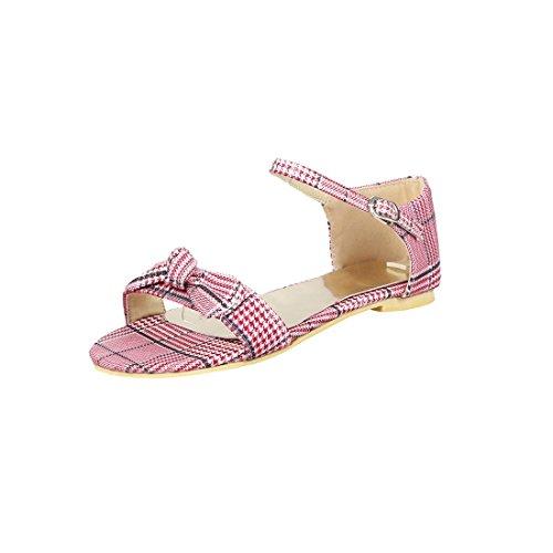 Sandalias Mujer/Sandalia con Pulsera para Mujer/Un Gran Código para Las Sandalias Femeninas de los Estudiantes de Fondo Plano de la Pajarita Zapatos de Mujer Gules