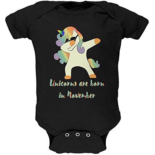 Old Glory November Birthday Dabbing Unicorn Sunglasses Soft Baby One Piece Black 0-3 - 3 Sunglasses Month Old