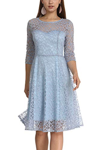 Women's Elegant Plum Blossoms Floral Lace Dress 3/4 Sleeves Bridesmaid Midi Dresses Illusion Neckline (Blue, XL) -