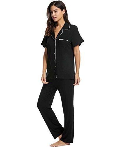 Avidlove Womens Comfort Pajama Set Short-Sleeve with Long Pjs Pants Soft Sleepwear,Medium,Black Pj