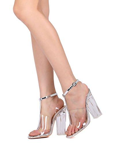 Alrisco Femmes T-strap Lucite Talon Sandale - Habillé, Mariage, Costume - Bloc De Talon Pompe - Gd48 Par Largent