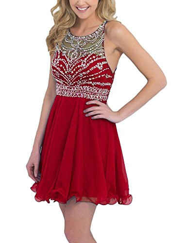 2016 Damen Fanciest Ballkleid Beaded Kurz Red Gowns Heimkehr Abendkleider Halter UqwXvC