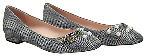 J Crew Poppy Ballet Flats in Embellished Plaid in White, Blue and Black Size 9.5 K0451